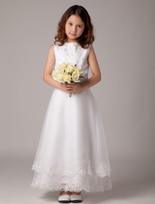 Sweet A-line White Satin Sleeveless Ankle-Length First Communion Dress