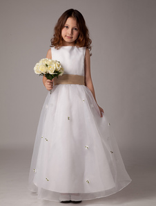 White Sleeveless Bow Sash Flower Girl Dress