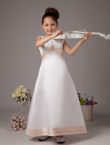White Sleeveless Inverted V Satin Flower Girl Dress