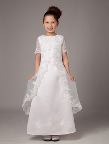 Pure White Sleeveless Satin First Communion Dress