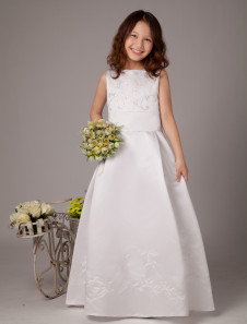 Trendy White Sleeveless Satin First Communion Dress