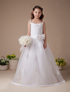 White Spaghetti Zip Closure Satin First Communion Dress