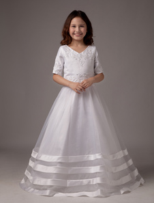 White V-Neck A-line Satin First Communion Dress