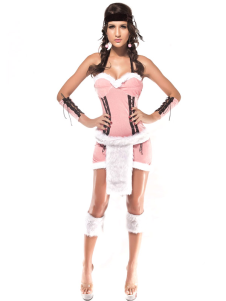 Sweet Pink Acrylic Spandex Womens Sweetheart Native American Princess Costume