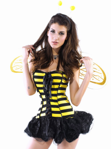 Wonderful Yellow Acrylic Spandex Sexy Bee Dress Wings Feeler