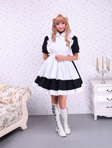 Algodón Negro Sirvienta Lolita OP Vestido Blanco Cortas Mangas