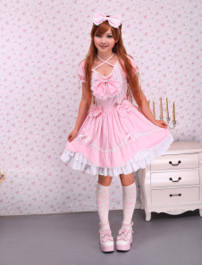 cotton-pink-ruffles-bow-sweet-lolita-dress