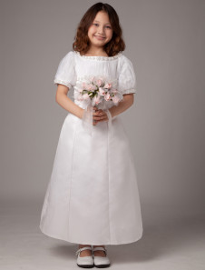 White Short Puff Sleeves A-line Satin First Communion Dress