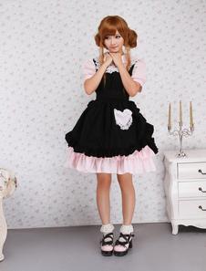 Image of Attrezzatura Lolita dolce nera e rosa in cotone con maniche corte