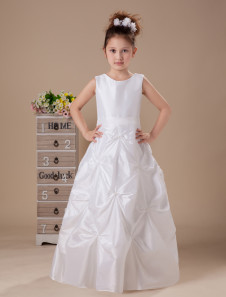 Lovely White Round Neck Tea Length Satin First Communion Dress