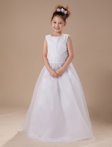 A-line White Bateau Neck Beading Floor-Length First Communion Dress