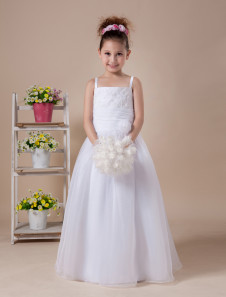 A-line White Embroidered Floor-Length First Communion Dress