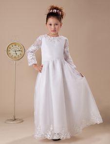 Sweet A-line White Organza Floor-Length First Communion Dresses
