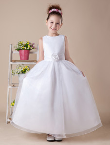 Lovely A-line White Satin Ankle-Length First Communion Dress