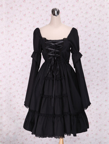 pure-black-lolita-one-piece-dress-long-sleeves-lace-up-shirring
