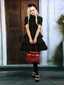 Image of Attrezzatura Lolita dolce nera in cotone con maniche corte