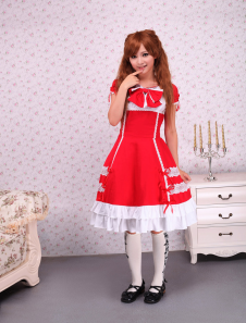 cotton-red-short-sleeves-bow-lace-cotton-sweet-lolita-dress