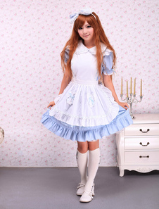 Cotton Blue Ruffles Short Sleeves School  Lolita Dress