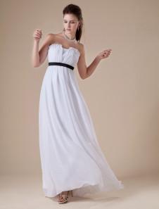 Robe de soirée A-ligne blanche bustier