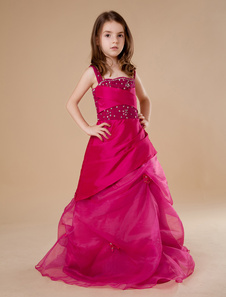 Ball Gown FloorLength Fuchsia Tulle Girls Pageant Dress