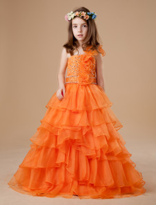 Ball Gown FloorLength Orange Tulle Girls Pageant Dress