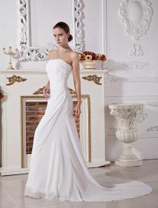 Свадебное платье A-силуэт из шифона