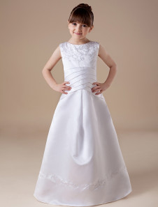 Elegant White Sleeveless Satin First Communion Dress