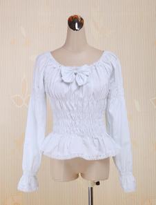 Blanco Algodón Lolita Blusas Largas Mangas Lazo Escote Cuadrado