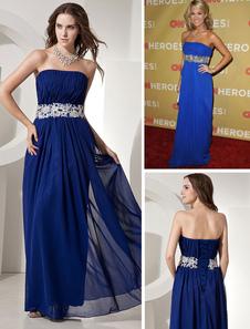 Robe de célébrité magnifique en bleu royal sans bretelles en mousseline de soie