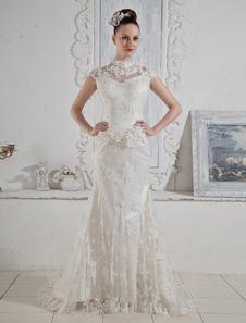 Attirante robe de mariage de sirène ivoire en dentelle
