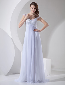 Image of Abiti da sposa bianchi in chiffon con scollo a V abito da sposa da sposa in pizzo che borda abito da sposa in vita impero con la coda