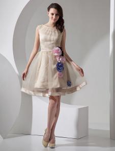 Mini robe de mariée A-ligne champagne en organza