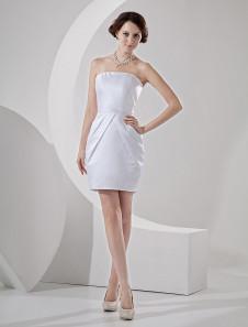 Image of Abito da sposa bianco satin forma attillata senza spalline corto/mini