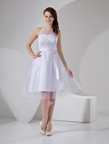 Robe de mariage exquise A-ligne en satin blanc avec applique à licou longueur mollet