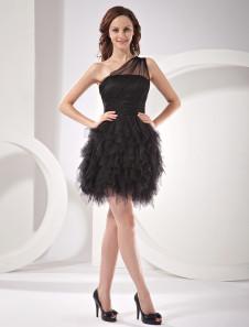 Vestido de cóctel negro de red con un solo hombro estilo imperio mini