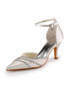 Ivory Ankle Strap Pointed Toe Satin Wedding Shoes