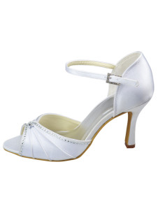 Pretty White Rhinestone Satin 2 35 High Heel Wedding Shoes