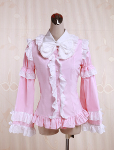 pink-cotton-lolita-blouse-long-sleeves-white-ruffles-trim-bow