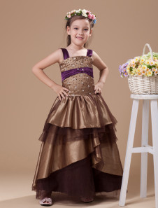 Ball Gown FloorLength Chocolate Tulle Girls Pageant Dress