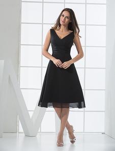 Robe demoiselle d'honneur A-ligne en satin noir de col V  Robes pour les invités de mariage