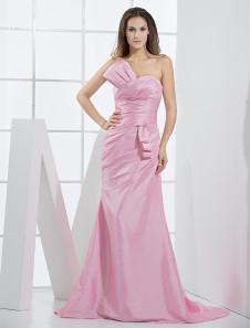 Pink Taffeta Mermaid Trumpet Ladies Special Occasion Dress