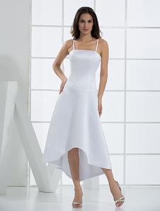 Белые строки Спагетти атласная свадебное платье