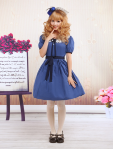 Blue Short Sleeves Lace Sash Cotton Sweet Lolita Dress