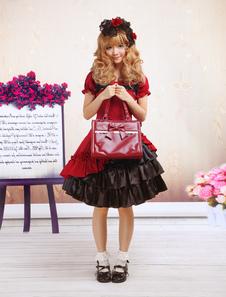 Image of Vestito da Lolita rosso classico tradizionale in cotone con maniche corte multistrato