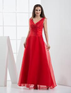 Red VNeck Pleated Floor Length Organza Satin Bridesmaid Dress