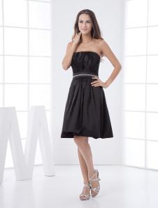 Black Aline Strapless Elastic Woven Satin Bridesmaid Dress