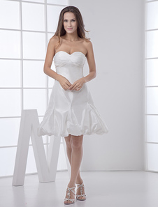 Chic robe mariage A-ligne en taffetas blanc plissé encolure en coeur mini