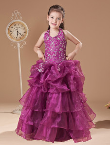 Ball Gown FloorLength Fuchsia Tulle Girls Pageant Dresses