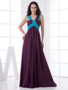 Grape Chiffon Floor Length ALine Ladies Special Occasion Dress