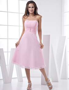 Pink Lovely Aline Strapless Chiffon Satin Prom GownHomecoming Dress